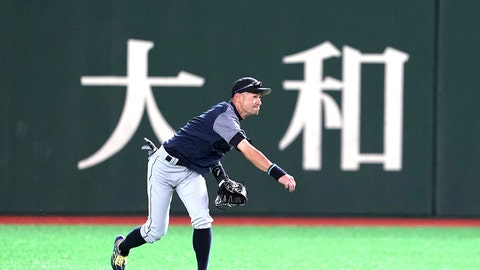 <p>               Seattle Mariners' Ichiro Suzuki warms up during his team's practice at Tokyo Dome in Tokyo Saturday, March 16, 2019. The Mariners will play in a two-baseball game series against the Oakland Athletics to open the Major League season on March 20-21. (AP Photo/Eugene Hoshiko)             </p>
