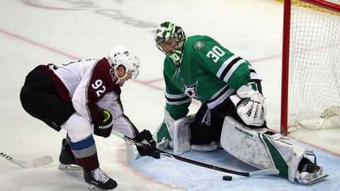 <p>               Colorado Avalanche left wing Gabriel Landeskog (92) tries to score against Dallas Stars goaltender Ben Bishop (30) in the third period in an NHL hockey game Thursday, March 7, 2019, in Dallas. (AP Photo/Richard W. Rodriguez)             </p>