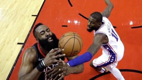 <p>               Houston Rockets' James Harden (13) is fouled by Philadelphia 76ers' James Ennis III (11) during the first half of an NBA basketball game Friday, March 8, 2019, in Houston. (AP Photo/David J. Phillip)             </p>