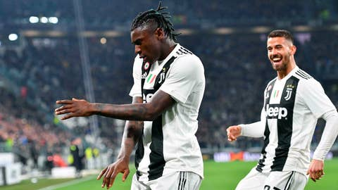 <p>               Juventus' Moise Kean celebrates after scoring during the Italian Serie A soccer match between Juventus and Udinese at the Allianz Stadium in Turin, Italy, Friday, March 8, 2019. (Alessandro Di Marco/ANSA via AP)             </p>
