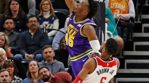 <p>               Utah Jazz guard Donovan Mitchell (45) goes to the basket as Washington Wizards forward Troy Brown Jr. (6) defends during the first half of an NBA basketball game Friday, March 29, 2019, in Salt Lake City. (AP Photo/Rick Bowmer)             </p>