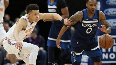 <p>               Minnesota Timberwolves' Jeff Teague steals the ball from New York Knicks' Kevin Knox in the first half of an NBA basketball game Sunday, March 10, 2019, in Minneapolis. (AP Photo/Stacy Bengs)             </p>