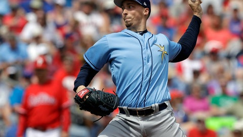 <p>               FILE - In this Monday, March 11, 2019, file photo, Tampa Bay Rays' Blake Snell pitches to the Philadelphia Phillies during the second inning of a spring training baseball game in Clearwater, Fla. The Rays bolstered a pitching rotation led by Cy Young Award winner Blake Snell. (AP Photo/Chris O'Meara, File)             </p>