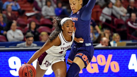 <p>               Texas A&M's Kayla Wells, left, drives against Auburn's Abigayle Jackson during the first half of an NCAA college basketball game in the Southeastern Conference women's tournament Friday, March 8, 2019, in Greenville, S.C. (AP Photo/Richard Shiro)             </p>