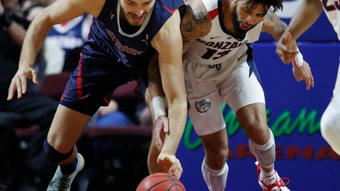 <p>               St. Mary's Jock Perry, left, and Gonzaga's Josh Perkins scramble for the ball during the first half of an NCAA college basketball game for the West Coast Conference men's tournament title, Tuesday, March 12, 2019, in Las Vegas. (AP Photo/John Locher)             </p>