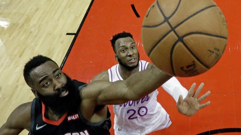 <p>               Houston Rockets' James Harden, left, shoots as Minnesota Timberwolves' Josh Okogie (20) defends during the first half of an NBA basketball game Sunday, March 17, 2019, in Houston. (AP Photo/David J. Phillip)             </p>