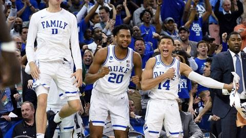 <p>               Duke's bench reacts to a play during the second half of the team's second-round men's college basketball game against Central Florida in the NCAA Tournament in Columbia, S.C. Sunday, March 24, 2019. (AP Photo/Richard Shiro)             </p>