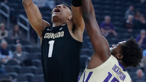 <p>               Colorado's Tyler Bey shoots over Washington's Noah Dickerson during the first half of an NCAA college basketball game in the semifinals of the Pac-12 men's tournament Friday, March 15, 2019, in Las Vegas. (AP Photo/John Locher)             </p>