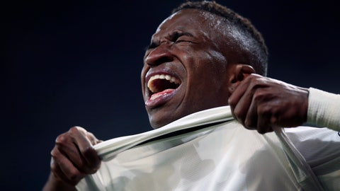 <p>               The injured Real forward Vinicius Junior reacts during the Champions League round of 16 second leg soccer match soccer match between Real Madrid and Ajax at the Santiago Bernabeu stadium in Madrid, Tuesday, March 5, 2019. (AP Photo/Bernat Armangue)             </p>