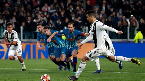 <p>               Juventus' Cristiano Ronaldo scores his side's third goal from the penalty spot during the Champions League round of 16, 2nd leg, soccer match between Juventus and Atletico Madrid at the Allianz stadium in Turin, Italy, Tuesday, March 12, 2019. (AP Photo/Antonio Calanni)             </p>