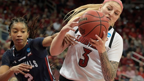 <p>               Louisville forward Sam Fuehring (3) battles Robert Morris guard Nia Adams (2) for a rebound during the first half of a first-round game in the NCAA women's college basketball tournament in Louisville, Ky., Friday, March 22, 2019. (AP Photo/Timothy D. Easley)             </p>