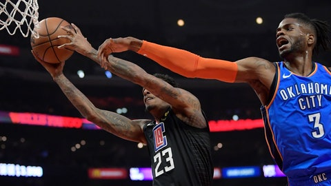 <p>               Los Angeles Clippers guard Lou Williams, left, shoots as Oklahoma City Thunder forward Nerlens Noel defends during the first half of an NBA basketball game Friday, March 8, 2019, in Los Angeles. (AP Photo/Mark J. Terrill)             </p>