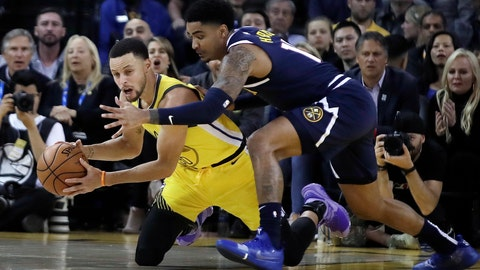 <p>               Golden State Warriors' Stephen Curry, left, looks to pass the ball away from Denver Nuggets' Gary Harris during the first half of an NBA basketball game Friday, March 8, 2019, in Oakland, Calif. (AP Photo/Ben Margot)             </p>