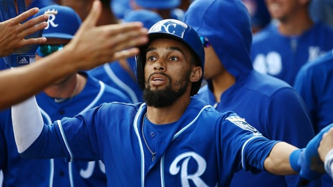 <p>               Kansas City Royals' Billy Hamilton celebrates his run scored against the Cincinnati Reds with teammates in the dugout during the first inning of a spring training baseball game Friday, March 8, 2019, in Surprise, Ariz. (AP Photo/Ross D. Franklin)             </p>