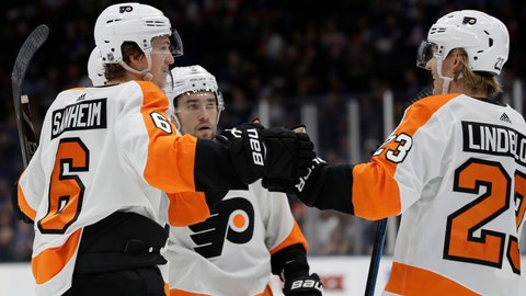 <p>               Philadelphia Flyers defenseman Travis Sanheim (6) celebrates with Flyers left wing Oskar Lindblom (23) as Flyers defenseman Robert Hagg, center, looks on after Sanheim scored the Flyers' second goal during the first period of an NHL hockey game, Sunday, March 3, 2019, in Uniondale, N.Y. (AP Photo/Kathy Willens)             </p>