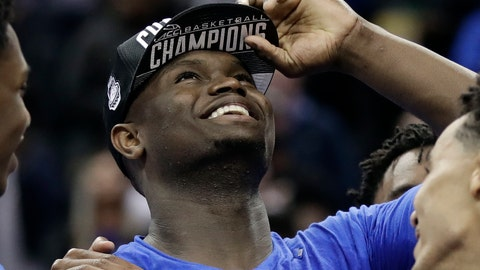 <p>               Duke's Zion Williamson celebrates after Duke defeated Florida State in the NCAA college basketball championship game of the Atlantic Coast Conference tournament in Charlotte, N.C., Saturday, March 16, 2019. Williamson was named the tournament's MVP. (AP Photo/Chuck Burton)             </p>
