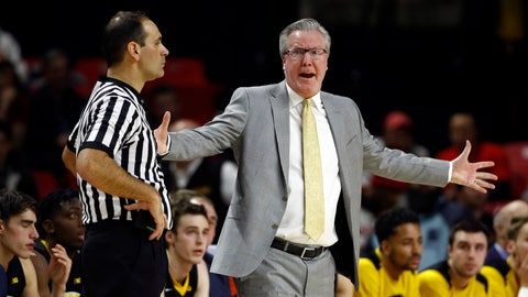 <p>               FILE - In this Jan. 7, 2018, file photo, Iowa coach Fran McCaffery, right, speaks with an official during the first half of the team's NCAA college basketball game against Maryland in College Park, Md. McCaffery was suspended for two games for a profanity-laced tirade directed toward the refs last month. He has a history: Both he and his wife were ejected from a game in 2006 for swearing at the officials. (AP Photo/Patrick Semansky, File)             </p>