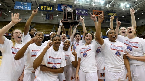 <p>               Mercer teammates celebrate their 66-63 win over Furman for the Southern Conference basketball tournament championship, Sunday, March 10, 2019, in Asheville, N.C.  (AP Photo/Kathy Kmonicek)             </p>