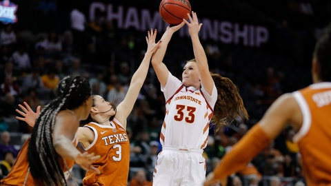 <p>               Iowa State guard Alexa Middleton (33) shoots as Texas guard Danni Williams (3) defends during the second half of an NCAA college basketball game in the Big 12 women's conference tournament in Oklahoma City, Sunday, March 10, 2019. (AP Photo/Alonzo Adams)             </p>