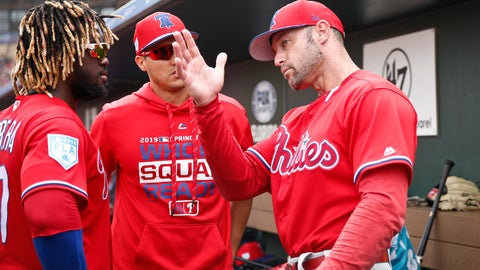 <p>               Philadelphia Phillies center fielder Odubel Herrera, left, and Philadelphia Phillies manager Gabe Kapler, right, talk in the dugout in the fourth inning during an exhibition spring training baseball game against the St. Louis Cardinals on Monday, March 18, 2019, in Jupiter, Fla. (AP Photo/Brynn Anderson)             </p>