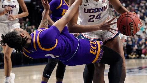 <p>               Connecticut's Napheesa Collier fouls East Carolina's Lashonda Monk, left, during the first half of an NCAA college basketball game in the American Athletic Conference tournament quarterfinals, Saturday, March 9, 2019, at Mohegan Sun Arena in Uncasville, Conn. (AP Photo/Jessica Hill)             </p>