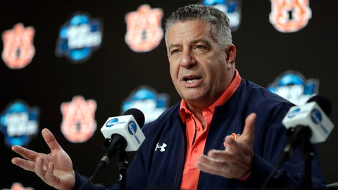 <p>               Auburn head coach Bruce Pearl speaks during a news conference at the NCAA men's college basketball tournament Thursday, March 28, 2019, in Kansas City, Mo. Auburn plays North Carolina in a Midwest Regional semifinal on Friday. (AP Photo/Jeff Roberson)             </p>