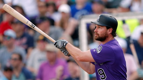 <p>               Colorado Rockies second baseman Daniel Murphy (9) follows through on a two-run home run in the first inning of a spring training baseball game against the Minnesota Twins Tuesday, March 26, 2019, in Fort Myers, Fla. (AP Photo/John Bazemore)             </p>