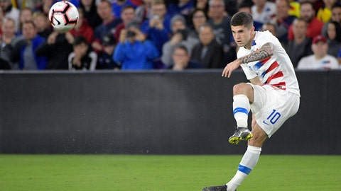 <p>               United States midfielder Christian Pulisic (10) passes the ball during the first half of an international friendly soccer match against Ecuador, Thursday, March 21, 2019, in Orlando, Fla. (AP Photo/Phelan M. Ebenhack)             </p>