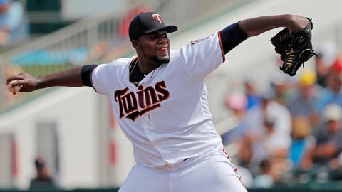 <p>               Minnesota Twins starting pitcher Michael Pineda throws in the second inning of their spring training baseball game against the Boston Red Sox in Fort Myers, Fla., Friday, March 1, 2019. (AP Photo/Gerald Herbert)             </p>