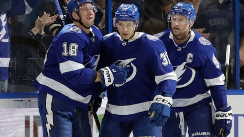<p>               Tampa Bay Lightning center Yanni Gourde (37) celebrates his goal against the Winnipeg Jets with left wing Ondrej Palat (18) and center Steven Stamkos (91) during the first period of an NHL hockey game Tuesday, March 5, 2019, in Tampa, Fla. (AP Photo/Chris O'Meara)             </p>