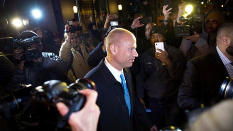 <p>               Attorney Michael Avenatti leaves Federal Court after his initial appearance in an extortion case Monday, March 25, 2019, in New York. Avenatti was arrested Monday on charges that included trying to shake down Nike for as much as $25 million by threatening the company with bad publicity. (AP Photo/Kevin Hagen).             </p>