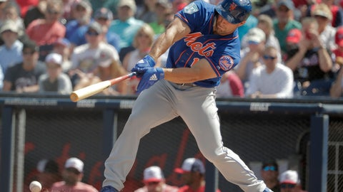 <p>               New York Mets' Tim Tebow (15) bats in the first inning during an exhibition spring training baseball game against the Washington Nationals, Thursday, March 7, 2019, in West Palm Beach, Fla. (AP Photo/Brynn Anderson)             </p>