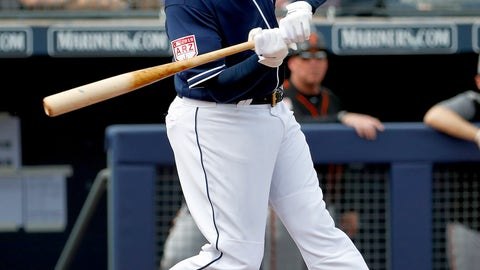 <p>               San Diego Padres' Manny Machado hits against the San Francisco Giants during the first inning of a spring training baseball game, Saturday, March 2, 2019, in Peoria, Ariz. (AP Photo/Matt York)             </p>