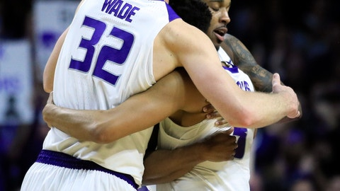 <p>               Kansas State seniors Dean Wade (32), Barry Brown Jr., back, and Kamau Stokes, middle, hug as they are replaced during the second half of an NCAA college basketball game against Oklahoma in Manhattan, Kan., Saturday, March 9, 2019. Kansas State defeated Oklahoma 68-53. (AP Photo/Orlin Wagner)             </p>