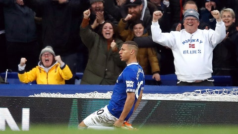 <p>               Everton's Richarlison celebrates scoring his side's first goal of the game,  during the English Premier League soccer match between Everton and Chelsea at Goodison Park in Liverpool, England, Sunday March 17, 2019. (Martin Rickett/PA via AP)             </p>