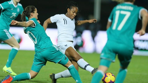 <p>               Germany's Dzsenifer Marozsan, left, and France's Marie-Antoinette Katoto challenge for the ball during a women's international friendly soccer match between France and Germany at Francis-le-Basser stadium in Laval, western France, Thursday, Feb. 28, 2019. (AP Photo/David Vincent)             </p>