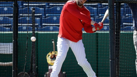 <p>               Philadelphia Phillies' Bryce Harper hits in the batting cage before a spring training baseball game against the Toronto Blue Jays Saturday, March 9, 2019, in Clearwater, Fla. (AP Photo/Chris O'Meara)             </p>