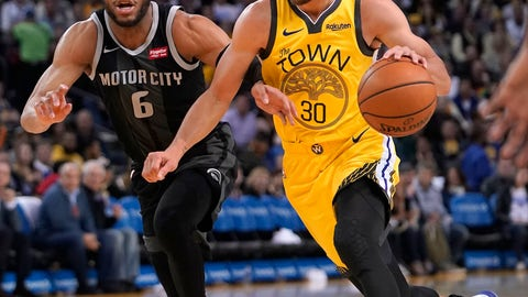 <p>               Golden State Warriors guard Stephen Curry (30) dribbles past Detroit Pistons guard Bruce Brown (6) during the second half of an NBA basketball game Sunday, March 24, 2019, in Oakland, Calif. (AP Photo/Tony Avelar)             </p>