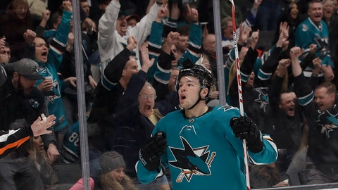 <p>               San Jose Sharks center Tomas Hertl (48) celebrates after scoring a goal against the Chicago Blackhawks during the first period of an NHL hockey game in San Jose, Calif., Sunday, March 3, 2019. (AP Photo/Jeff Chiu)             </p>