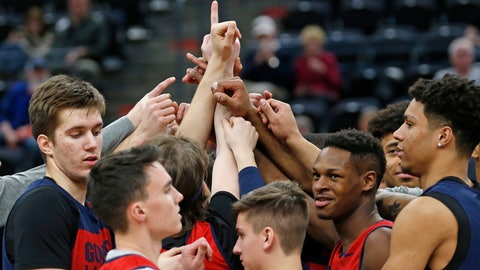 <p>               Gonzaga players huddle following practice at the NCAA men's college basketball tournament Wednesday, March 20, 2019, in Salt Lake City. Gonzaga plays Fairleigh Dickinson on Thursday. (AP Photo/Rick Bowmer)             </p>
