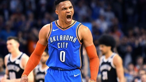 <p>               Oklahoma City Thunder guard Russell Westbrook (0) celebrates after a 3 point shot during the second half of the team's NBA basketball game against the Brooklyn Nets on Wednesday, March 13, 2019, in Oklahoma City. (AP Photo/June Frantz Hunt)             </p>