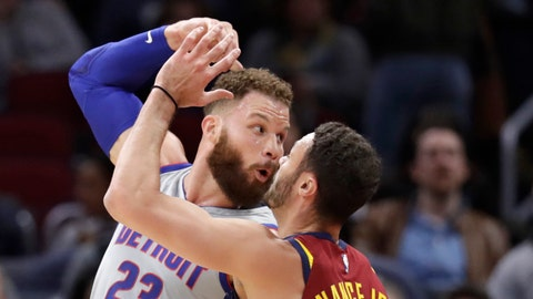 <p>               Detroit Pistons' Blake Griffin (23) passes the ball over Cleveland Cavaliers' Larry Nance Jr. (22) in the first half of an NBA basketball game, Saturday, March 2, 2019, in Cleveland. (AP Photo/Tony Dejak)             </p>