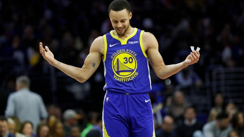 <p>               Golden State Warriors' Stephen Curry reacts after a foul was called against him during the first half of an NBA basketball game against the Philadelphia 76ers, Saturday, March 2, 2019, in Philadelphia. (AP Photo/Matt Slocum)             </p>
