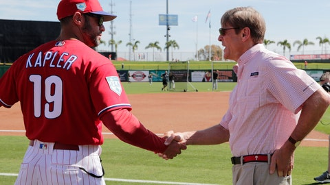 <p>               Philadelphia Phillies manager Gabe Kapler (19) shakes hands with team owner John Middleton before a spring training baseball game against the Pittsburgh Pirates, Friday, March 1, 2019, in Clearwater, Fla. (AP Photo/Lynne Sladky)             </p>