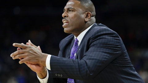 <p>               LSU interim head coach Tony Benford shouts to his players during the first half of a second-round game against Maryland in the NCAA men's college basketball tournament in Jacksonville, Fla., Saturday, March 23, 2019. (AP Photo/John Raoux)             </p>