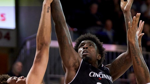 <p>               Cincinnati center Nysier Brooks (33) drives to the basket against SMU's Ethan Chargois (25) during the second half of an NCAA college basketball game Wednesday, Feb. 27, 2019, in Dallas. (AP Photo/Cooper Neill)             </p>