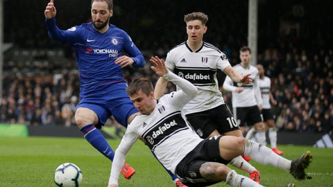Chelsea's Gonzalo Higuain left challenges for the ball with Fulham's Joe Brian during the English Premier League soccer match between Fulham and Chelsea at Craven Cottage stadium in London England Sunday