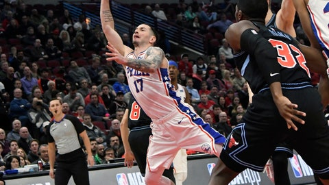 <p>               Philadelphia 76ers guard JJ Redick (17) shoots the ball against the Chicago Bulls during the first half of an NBA basketball game Wednesday, March 6, 2019, in Chicago. (AP Photo/David Banks)             </p>