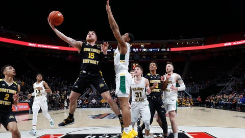 <p>               Northern Kentucky guard Tyler Sharpe (15) drives on Wright State guard Skyelar Potter during the first half of an NCAA college basketball game for the Horizon League men's tournament championship in Detroit, Tuesday, March 12, 2019. (AP Photo/Paul Sancya)             </p>