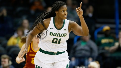 <p>               FILE - In this Monday, March 11, 2019, file photo, Baylor center Kalani Brown (21) reacts after scoring against Iowa State during the second half of an NCAA college basketball game in the Big 12 women's conference tournament championship in Oklahoma City. Brown has conference titles, NCAA trips and individual awards. The only thing missing for the 6-foot-7 senior center is a Final Four trip. (AP Photo/Alonzo Adams, File)             </p>